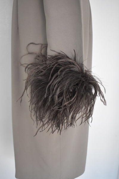 Valentino Miss V Never Worn Taupe Ostrich Faux Feather Dress