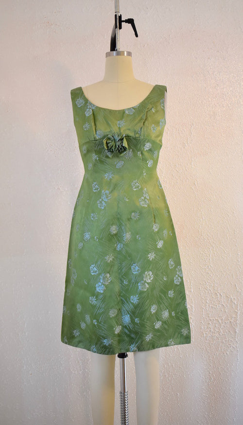 Vintage 1950s Green Floral Brocade Dress