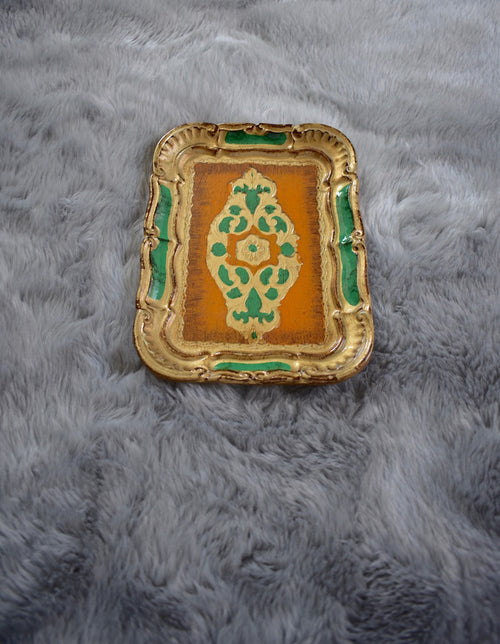 Antique Small Wood Painted Tray with Engraving