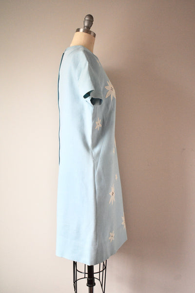 1950s-1960s Light Blue Flroal Dress