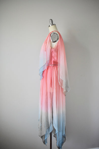 Vintage 1970s Bill Blass Silk Ombre Dress