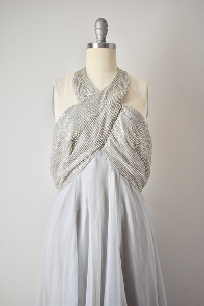 Vintage 1960s Grey Beaded Halter Gown