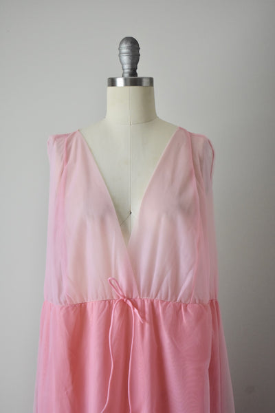 Vintage 1960s Pink Nylon Gown