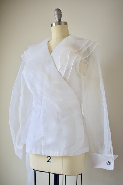 1970s Vintage Chiffon Wrap Top- Medium