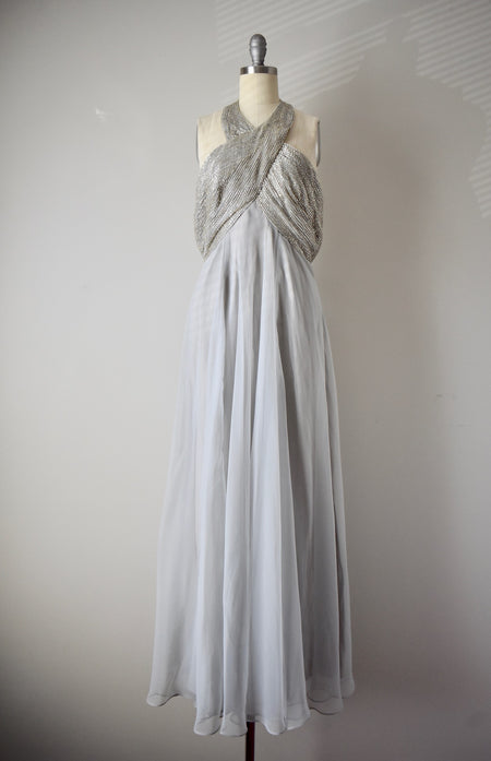 Vintage 1960s Watercolor Floral Chiffon Gown