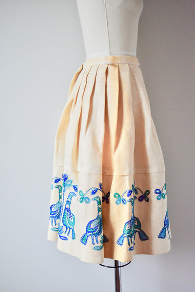 1940s-1950s Loomtog by Jeanne Campbell Beige Burlap Peacock Skirt