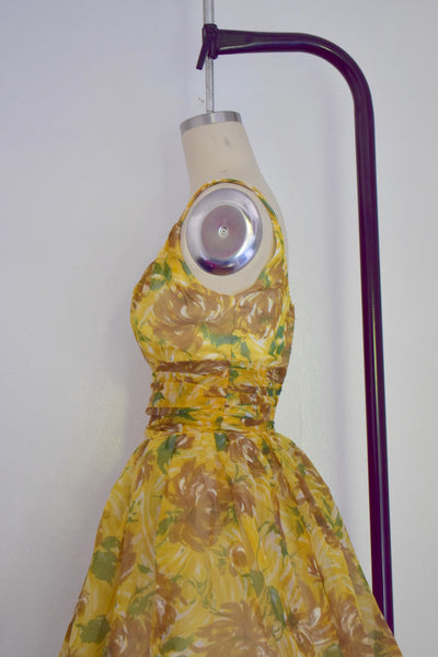 Vintage 1950s Yellow Joan Barrie Chiffon Ballon Cocktail Party Dress