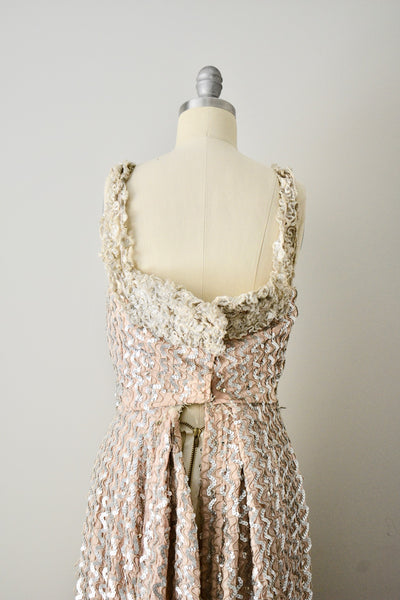 1940s Vintage Hollywood Beige Sequin Gown