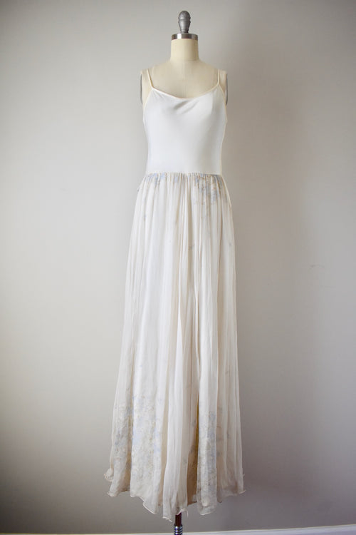 Vintage 1960s Dress with Floral Silk Skirt