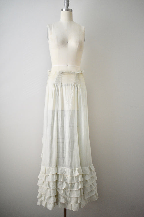 1930s Mint Green Sheer Pleated Wrap Skirt