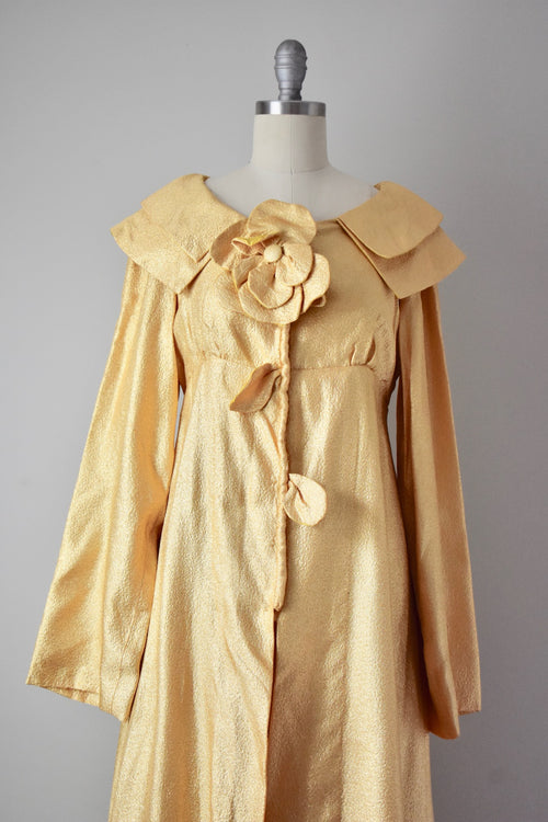 Vintage 1960s Gold Vogue Paris Lurex Dressing Duster