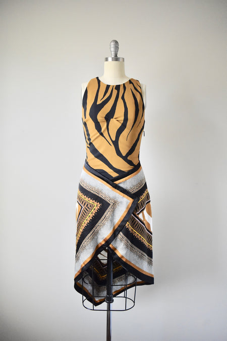 Sheer Silk Cocktail Beige Dress and Scarf