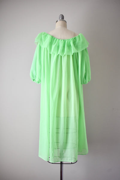 Vintage 1960s Neon Green Puff Sleeve Robe