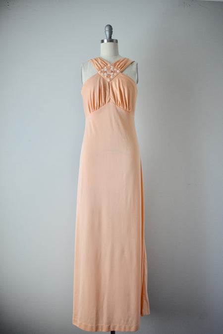 Vintage 60s Silk Taffeta Evening Gown with Crinoline