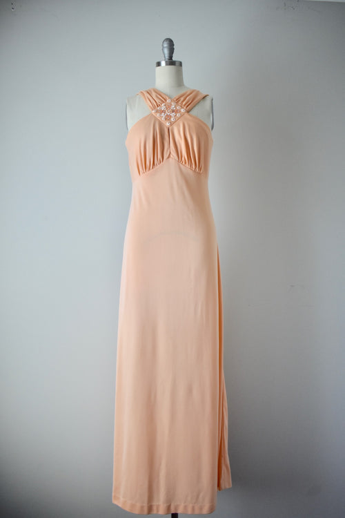 Vintage 1960s Peach Poly Jersey Halter Gown