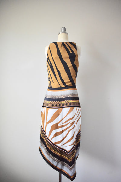 NWT Roberto Cavalli Brown White Multi Texture Animal Print Satin Dress Size 40