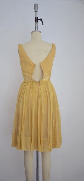 Vintage 1960s Yellow Chiffon and Satin Cocktail Dress