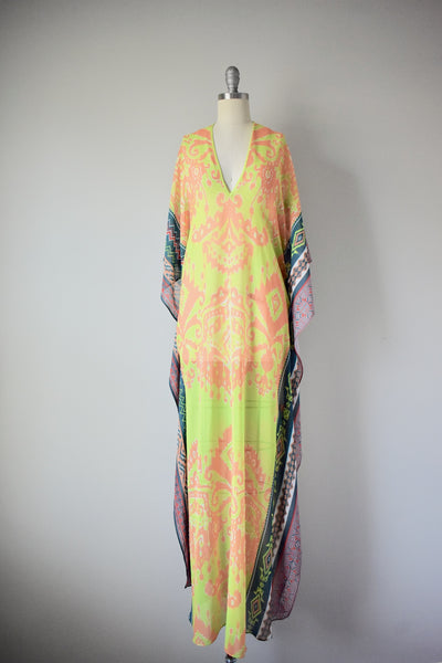 Hale Bob Cabana Lime Green Multi Ikat Print Open Side Caftan Dress