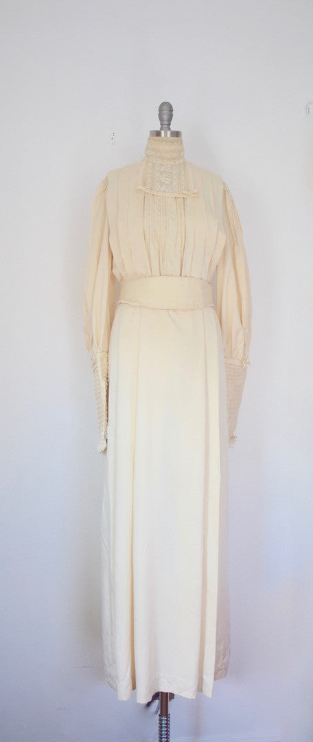 Vintage 1970s Handmade Victorian Style Antique Reproduction Maxi Dress