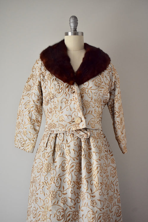 1960s Gold Lame Brocade Gown & Mink Trimmed Jacket