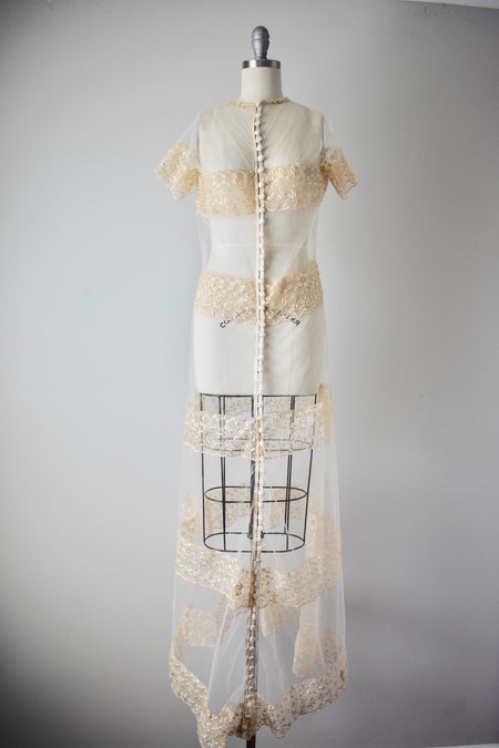 Vintage 1980s Lace Sheer Wedding Dress