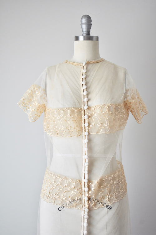 Vintage 1950s Sheer Buttoned Lace Gown