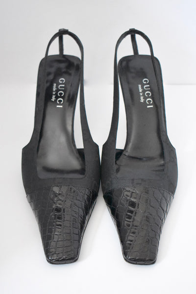 Italian Gucci Alligator Crocodile Monogram Crystal G Shoe