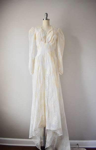 Vintage 1940s Felt and Net Gown