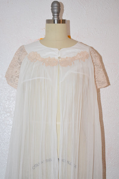 Vintage 1970s White Brown Lace Nylon Nightgown Top - Vintage World Rocks - 3