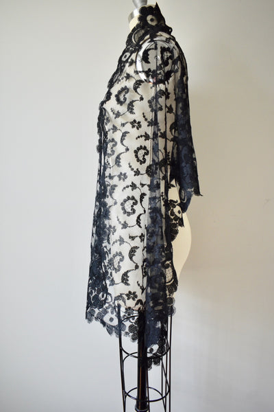 Victorian Lace Black Shawl