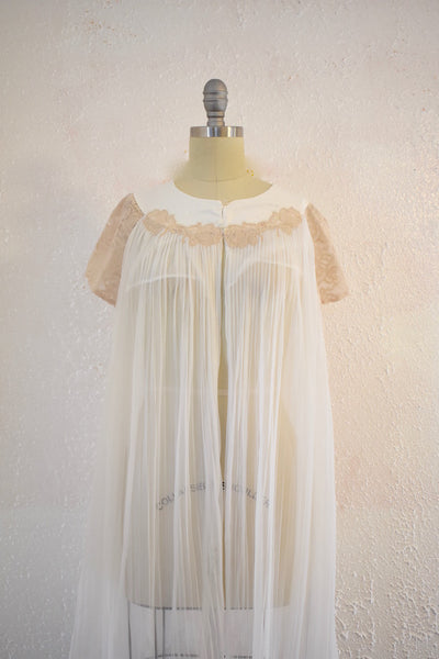 Vintage 1970s White Brown Lace Nylon Nightgown Top - Vintage World Rocks - 2