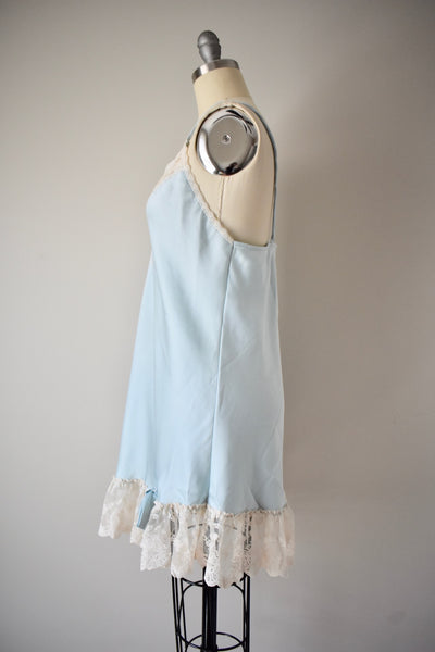 Vintage Baby Blue Step in Silk Slip