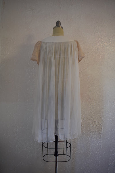 Vintage 1970s White Brown Lace Nylon Nightgown Top - Vintage World Rocks - 6