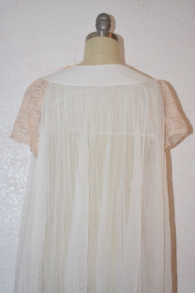 Vintage 1970s White Brown Lace Nylon Nightgown Top - Vintage World Rocks - 5