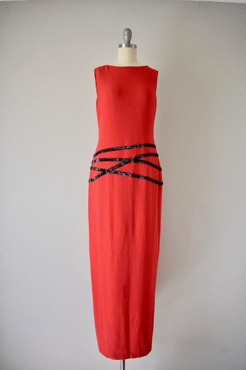 Halston Red Crepe Embroidered Dress, ca. 1990