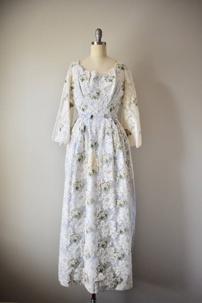 Vintage 1950s Lace Designer Anthony Sofio Gown