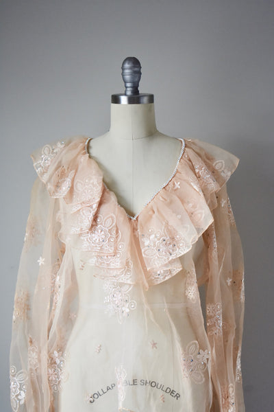 Vintage Sheer Ruffled Organza Top