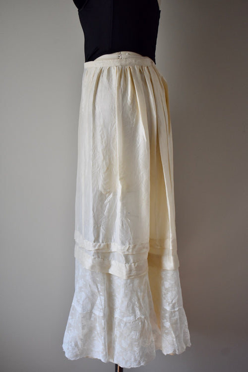 Antique Silk and Valenciennes Lace Skirt