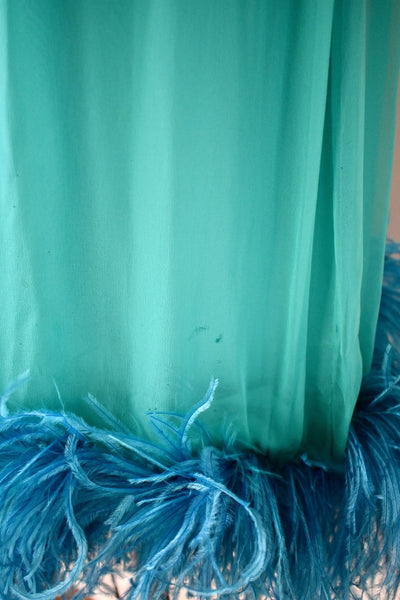 Vintage 1960s Silk Chiffon Turquoise Feather Dress