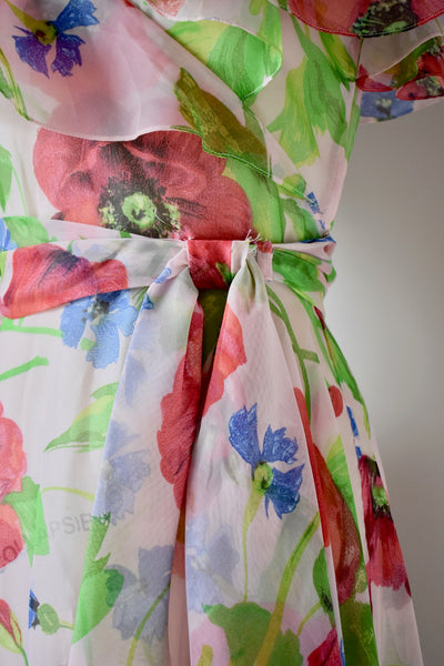 Vintage 1970s Sheer Floral Print Dress- Size Small/ Medium