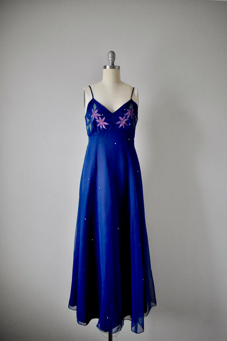 Vintage 1980s Blue Pleated Satin Dress- Medium