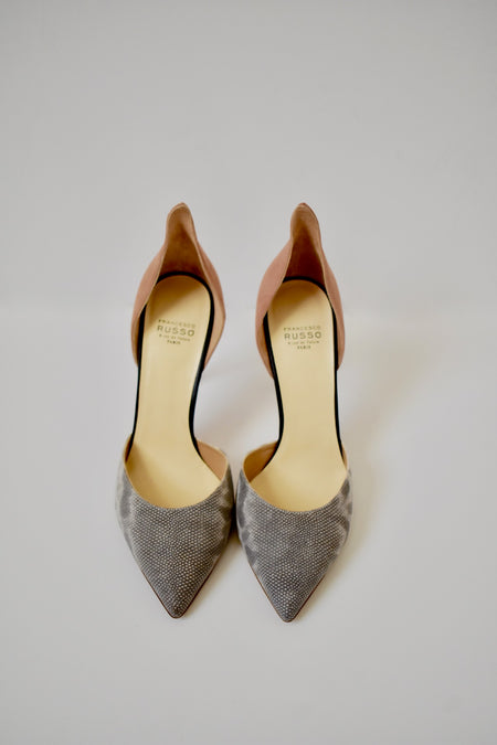 Jimmy Choo Blue Suede Silver Studded Confetti Pumps Shoes