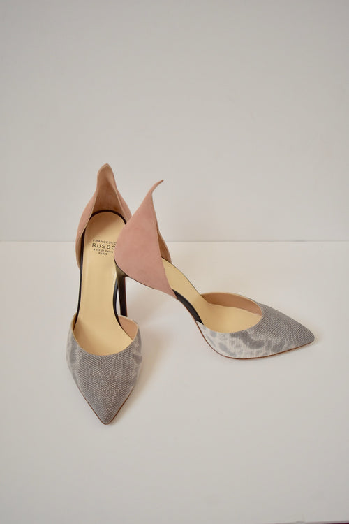 NEW IN BOX $760 Francesco Russo Paris Karung Nubuck Exotic Flamed Heel Shoes 36.5 (EU)/ 5.5 (US)