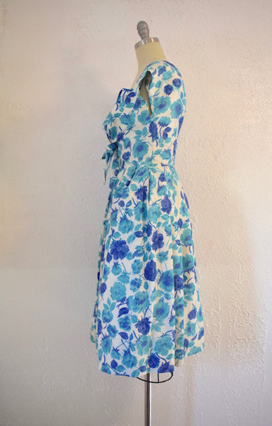 Vintage  1950s Jane Andre Blue Floral Cocktail Dress - Vintage World Rocks - 4