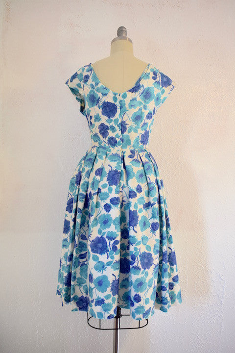 Vintage  1950s Jane Andre Blue Floral Cocktail Dress - Vintage World Rocks - 2