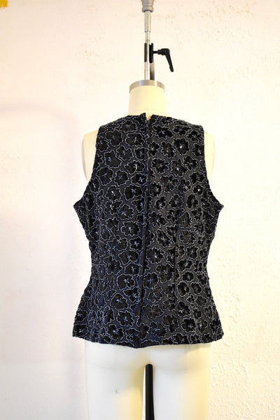 Vintage Black Sequin Stenay Blouse