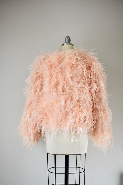 1950s Peach Ostrich Feather Jacket Small/Medium