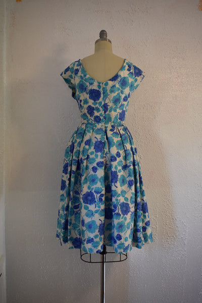 Vintage  1950s Jane Andre Blue Floral Cocktail Dress - Vintage World Rocks - 5