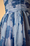 Vintage 1950s Dotted Blue Chiffon Party Dress