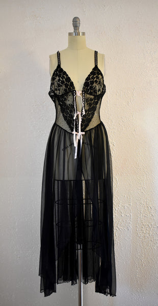 Vintage 1960s Black Lace Sears Night gown - Vintage World Rocks - 2